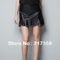 1pc Brand Women Fashion & Leisure Ruffles Leather Skirt, Lady Hot Mini Skirt with Rivets Sweep, Freeshipping  651559