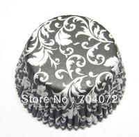 wholesale-free shipping 200pcs 50 x White damask Black Cupcake case liners paper Muffin Baking Cups 5x3cm NEW