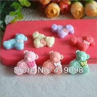 Free shipping! Very hot diy mobile phone decoration - beauty/flat back resin/lovely bowknot bear, teddy bear/25*20mm,30PCS/lot