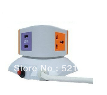 stand socket Detachable Vertical Power socket Universal AC Plug Adapter 1 lay 4 Outlets 3 hole socket 2 usb(China (Mainland))