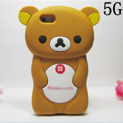 New arrival 3D cute easily bear rilakkuma back cover case for iphone 5+screen protector,free shipping(China (Mainland))