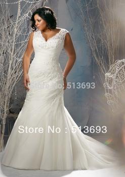 Mermaid V - образный вырез Applique Organza Кружево Up Plus Размер Свадьба Dress ...