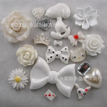 New 3D Bling White Bow Knot Flower DIY Cell Phone Case Deco Den Kit