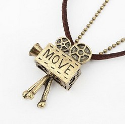 Min Order $10(mix order)Free Shipping! Wholesale Fashion Jewelry  Vintage MOVE letters Necklace Camera Pendant  A236