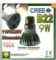 DHL FEDEX Free Shipping 100pcs/lot Dimmable LED Lamp B22 3X3W 9W=50W Halogen Bulb Light Bulb High Power LED Spotlight