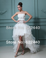 New Arrival Good quality Free Shipping A-Line Floor-Length Appliques Short Front And Long Back wedding dress