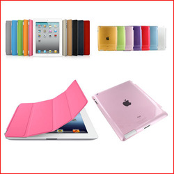 Freeship 1 Pc/lot PU Leather Magnetic Front Smart Cover Skin +Crystle Hard Back Case For iPad 2 iPad 3 iPad 4 Multi-Color(China (Mainland))
