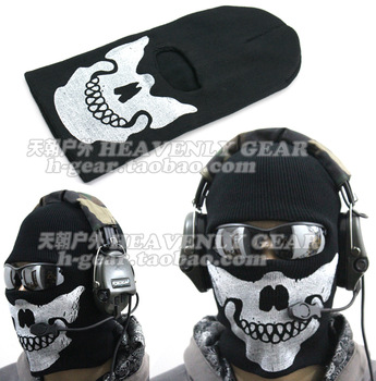 Ghost skull windproof thermal fadac field ride skiing thick wigs face mask