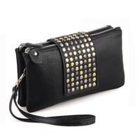Korean Style PU Leather fashion Handbag designer Rivet Lady wallet Clutch Purse Evening Bag drop shipping