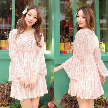 Sweet fresh 2013 girls polka dot high waist speaker long-sleeve chiffon one-piece dress