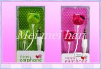 Amaing Price!20PCS 3.5mm Newly Cartoon Hello Kitty Earphone Headphone With Retai Box 6 Colors For Free Shipping