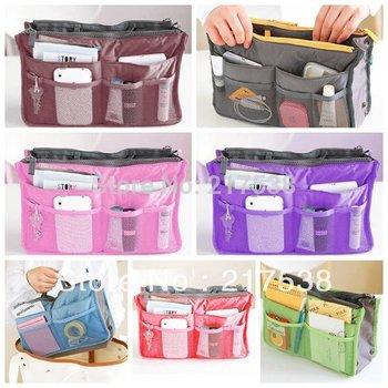 2pcs 7Colors Fashion Lady Girls'  Insert Storages mp3 Phone Cosmetic Big Capacity Nylon Organizer Bags Handbags Purse DP640198