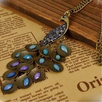 (Min order$10) Free shipping!European and American style, Crystal Peacock long retro necklace.welcome to place an order!