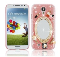 Handmade Luxury 3D Mirror & Fashion Accessories Diamond Crystal Bling Pink Case Cover for Samsung Galaxy S IV S4 GS4 4
