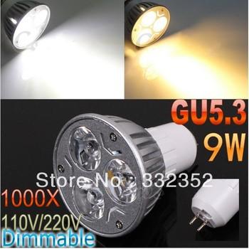 DHL FEDEX FreeShipping 1000pcs/lot GU5.3 High power CREE 3x3W 9W 110V-240V Dimmable Light lamp Bulb LED Downlight Bulb spotlight