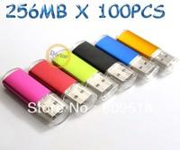 256MB 100PCS Metal USB Flash Memory Drive thumb stick  pendrive 6 Colors for choices