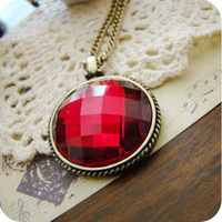 ON0198 European and American jewelry retro the slice red gem medallion necklace female sweater chain 17g