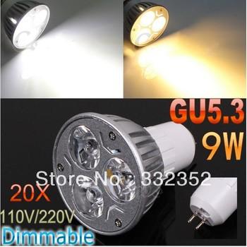 FREE Shipping 20pcs/lotHigh power CREE GU5.3 3x3W 9W 110V-240V Dimmable Light lamp Bulb LED Downlight Bulb spotlight
