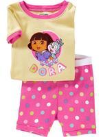 in stock  Dora Girl, 2012 Free Shipping, Wholesale Baby/Children 100% Cotton Rib short sleeve pajamas/sleepwear sets