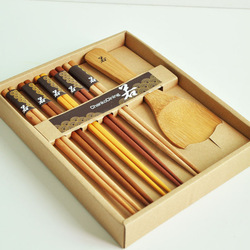 Chankodining unbarked wood chopsticks spoon set wedding gift endulge japanese style gift box tableware(China (Mainland))