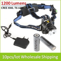 10PCS/LOT Wholesale 1200 Lumens Zoomable Focus LED Headlamp Set with 2PCS 18650 Rechargeable Batteries + Charger