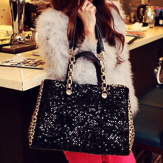 The gift fashion E shop ladies handbags fashion qiu dong leisure package imports Leopard Black Pearl front panels Shoulder Bag(China (Mainland))