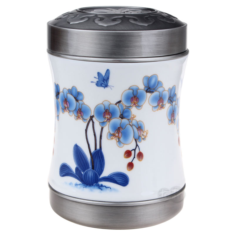 Blue and white porcelain pewter tea caddy quality gift old-age birthday gift practical gifts(China (Mainland))