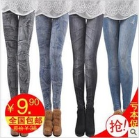 Free shipping Spring plus size clothing legging faux denim thin stretch cotton high waist basic ankle length trousers