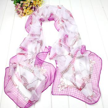 2013 sunscreen chiffon scarf long design silk scarf chain sunscreen tippet