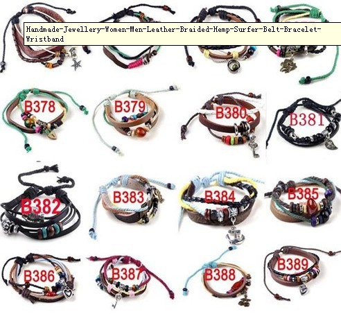 Min.order is $12 (mix order)36pcs Handmade jewelry Women Men Leather Braided Hemp Surfer Belt Bracelet Wristband[B374-389](China (Mainland))
