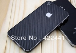 Freeshipping! 1piece Carbon Fibre Skin Sticker Vinyl Decal Full Body Wrap for iPhone 4S 4G, For iPhone 4 Carbon Sticker BS-i4B(China (Mainland))