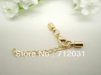 Jewelry Accessories Craft Leather cord buckle Chain End Caps Gold Plated 60 Set inner Diameter 2mm