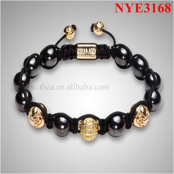 NYE3168 Unisex hematite and 14k gold alloy balls bracelet,newest shamballa bracelets