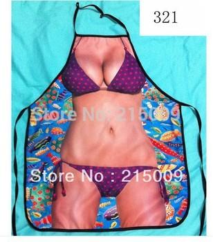 2014 new design sexy free shipping interesting kitchen cooking apron purple bikini - sexy apron - present