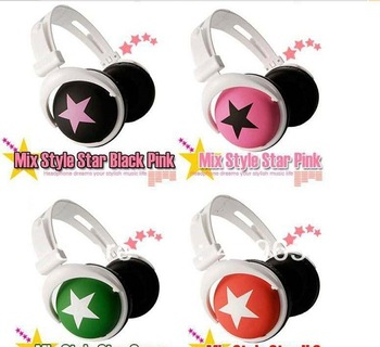 DHL Free Shipping 100pcs/lot Star Stereo Headphone Headset Earphone Mix Style With Retail Package Many Colors Best Choice