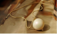 Free Shipping Fashion Necklace Europe and America style Simple and elegant Long Necklace Jewellery Wholesale Big pearl mix order