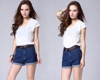 Autumn and winter summer female vivi fashion vintage high waist roll-up hem denim shorts woman jeans Free Shipping