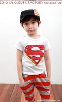 2013 best quality soft and breathable cotton summer children clothing Set  Superman t-shirt+ Harem Pants boy's suit
