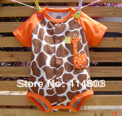 Sales! Baby Girls/ Boys Short Sleeve GIRAFFE Romper/ One-piece/ Jumpsuits/ Bodysuits, Free shipping 3-12M/4pcs(China (Mainland))