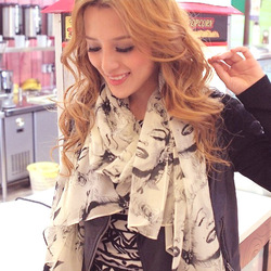 Min order is 10usd S013 Fashion Bright color Beauty Marilyn Monroe scarf Chiffon Free shipping ---cRYSTAL sHOP(China (Mainland))