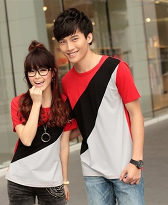 2 pcs/lot Free shipping 2013 summer lovers short-sleeve shirt basic color block t-shirt decoration couples t shirt Round neck(China (Mainland))