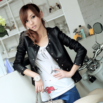 Free Shipping 2013 New Coat Spring  Women Female Models Leather Jacket Slim Was Thin Locomotive Rivets PU Leather Female