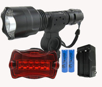 UltraFire C8 bike light Cree XM-L T6 5-Mode 1300LM  Power Waterproof Torch +2*18650 Batteries+charger +Rear Flashlight