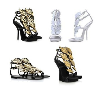 2013 summer Brand sexy high heel women gold leaf wedge Shoes Wing plat pumps flame Sandals Black White size 34-42
