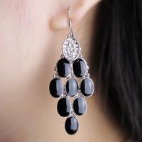 Grape silver earrings fashion earring long earrings female black tassel drop earring accessories free shipping