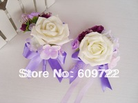 2013 New Style !  Wholesale Artificial Rose Wrist Flower Cream Corsage with Band for groom PU in Wedding Decoration FL413