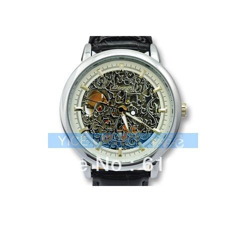 New Silver Round Steel Case Mens Mechanical Carving Hand Winding Watch Wristwatch(China (Mainland))
