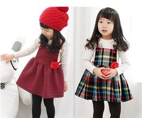 free shipping  2013  best quality princess style spring children's dress  fashion Stripe dress classic plaid