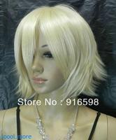 New Exquisite Light Blonde Short Straight women Cosplay Wig Free Hairnet #85