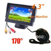 "4.3"" Car LCD Backlight Monitor + Mini Waterproof Car Rearview Reverse camera 170 degree Free Shipping"